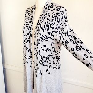 Charter Club |Cashmere | Gray Leopard Duster